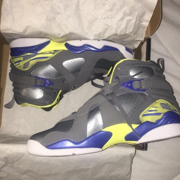 low priced 943a8 1f24e Girls Air Jordan 8 Retro (GS) Silver/Grey/Yellow